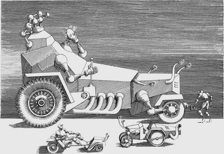 """Ilustracja do """"Cyberiady"""" Stanisława Lema, Daniel Mróz ©za zgodą Łucji Mróz-Raynoch"""